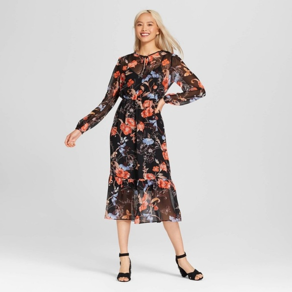 eef5e4b0183be Who What Wear Dresses | Black Floral Sheer Flowing Long Sleeve Midi ...